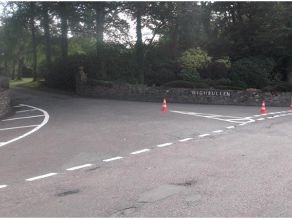 Highbullen entrance Give Way markings